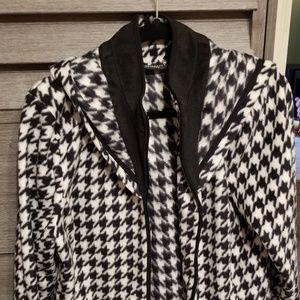 Houndstooth Hooded Fleece Jacket